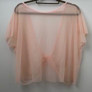 Sheer Light Pink Mesh Tee Shirt by Forever 21